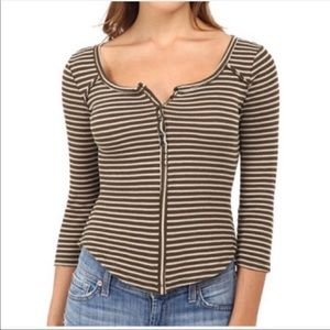 NWT Free People We the Free Cropped Stripe Thermal